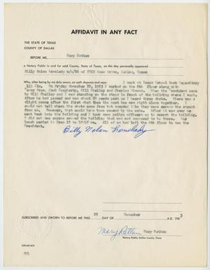 Primary view of object titled '[Affidavit in Any Fact - Statement by Billy Nolan Lovelady, November 22, 1963 #2]'.