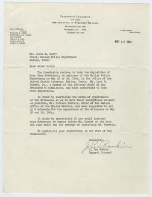 Primary view of object titled '[Letter to J. E. Curry from J. Lee Rankin, May 25, 1964]'.