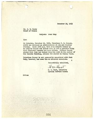Primary view of object titled '[Report to Chief J. E. Curry by H. M. Hart, concerning Jack Ruby's activities on November 23, 1963]'.