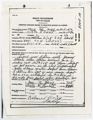 Primary view of object titled '[Arresting Officer's Report concerning prior arrests of Jack Ruby]'.
