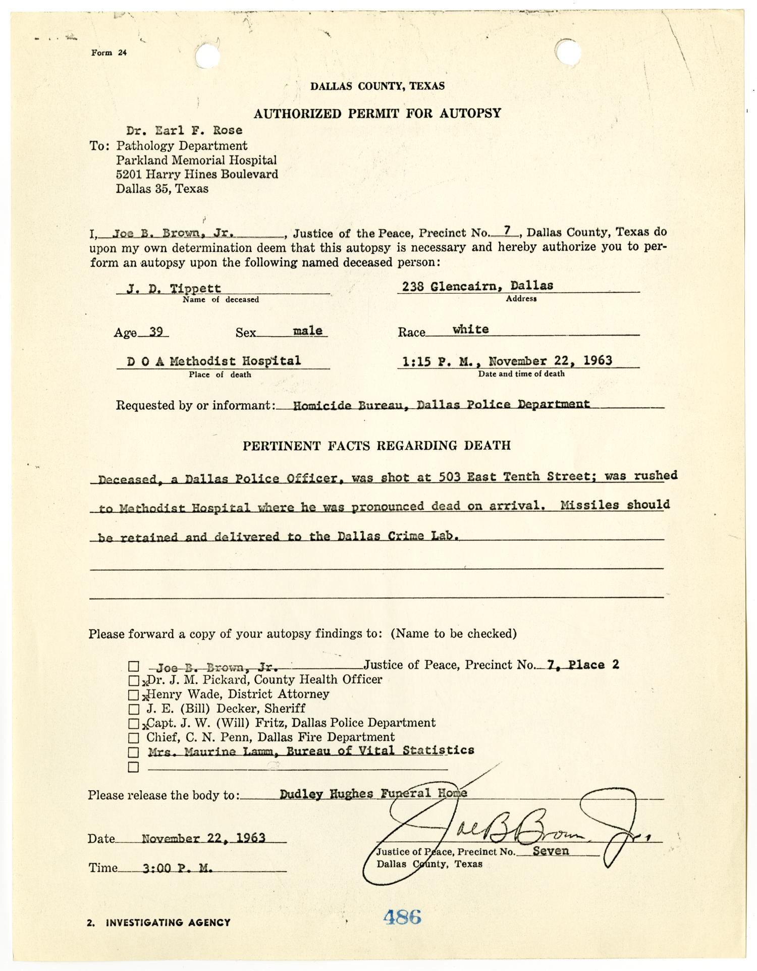 Autopsy report on officer j d tippit by earl f rose 1 page autopsy report on officer j d tippit by earl f rose 1 page 7 of 28 the portal to texas history aiddatafo Image collections