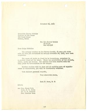 Primary view of object titled '[Letter from Earl F. Rose to Judge Pierce McBride, November 26, 1963]'.