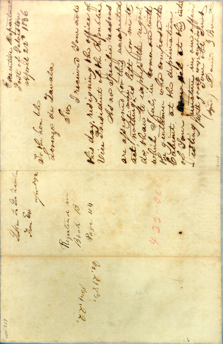[Letter from Burnet to Zavala] April 22nd 1836                                                                                                      [Sequence #]: 1 of 1