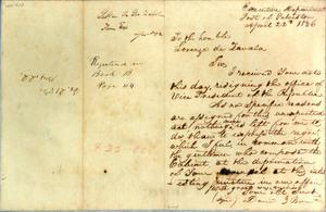 Primary view of object titled '[Letter from Burnet to Zavala] April 22nd 1836'.