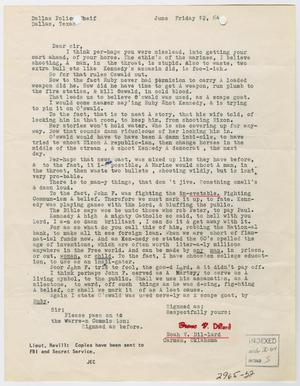 Primary view of object titled '[Letter to Chief of Police from Noah V. Dillard, June 12, 1964 #1]'.