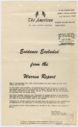 [Handbill of Evidence Excluded from the Warren Report #1]