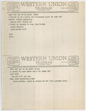 Primary view of object titled '[Telegrams to Jack Ruby from Alice Rosario and Frank Goodell, November 24, 1963 #1]'.