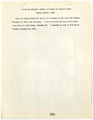 Primary view of object titled '[Report on Officer's Duties by Marvin Johnson, in regards to Lee Harvey Oswald's death #1]'.