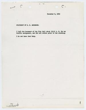 Primary view of object titled '[Typed Statement by Kenneth K. Anderson]'.