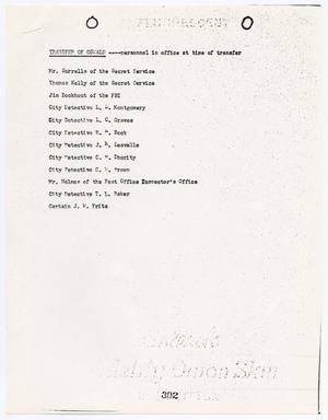 Primary view of object titled '[List of personnel in the office at the time of the transfer of Lee Harvey Oswald]'.