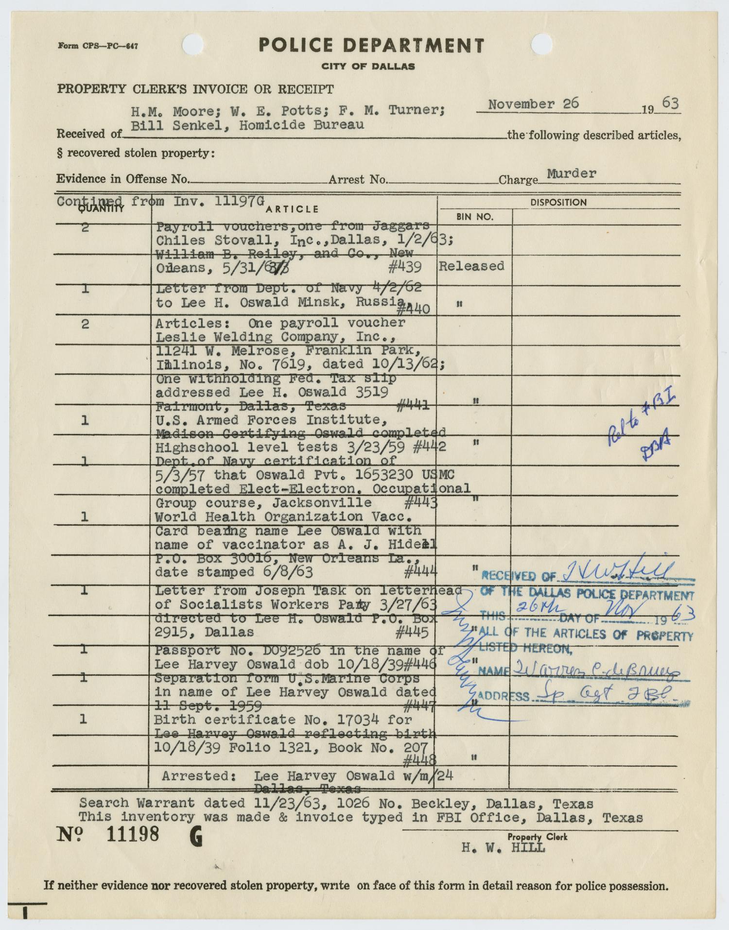 Property Clerks Receipt Of Lee Harvey Oswalds Belongings Page 9