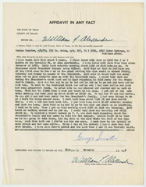 Primary view of object titled '[Affidavit in Any Fact - Statement by George Senator, November 24, 1963 #2]'.