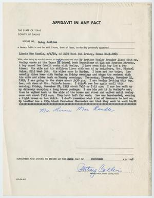 Primary view of object titled '[Affidavit in Any Fact - Statement by Linnie Mae Randle, November 22, 1963 #2]'.