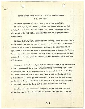 Primary view of object titled '[Report on Officer's Duties by E. R. Beck, regarding the murder of Lee Harvey Oswald #1]'.