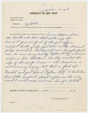 Primary view of object titled '[Affidavit in Any Fact by D. R. Archer #1]'.