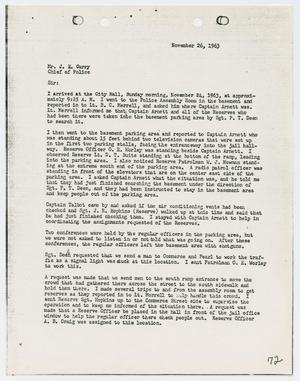 Primary view of object titled '[Report from Ben C. McCoy to Chief J. E. Curry, November 26, 1963]'.