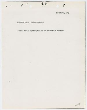 Primary view of object titled '[Typed Statement by Woodrow Wiggins]'.
