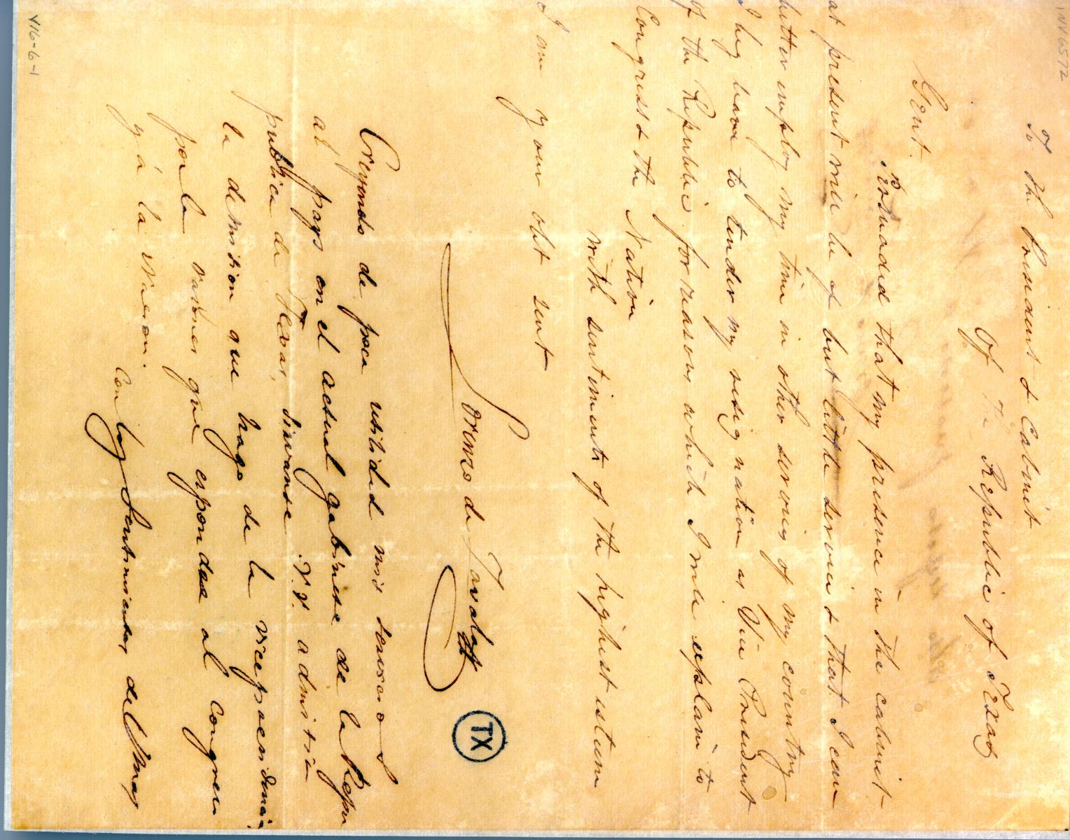 [Letter from Zavala to Prest/Cabinet] April 20th 1836                                                                                                      [Sequence #]: 1 of 2