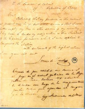 [Letter from Zavala to Prest/Cabinet] April 20th 1836