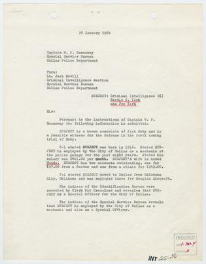 Primary view of object titled '[Report to W. P. Gannaway by D. N. Boyd, January 28, 1964]'.