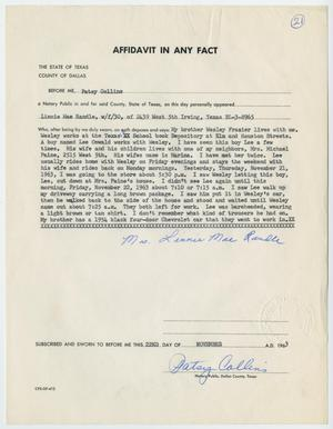 Primary view of object titled '[Affidavit in Any Fact - Statement by Linnie Mae Randle, November 22, 1963 #1]'.