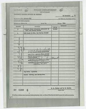Property Clerk's Receipt of Telegrams #2