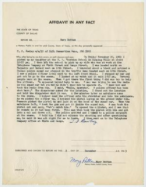 Primary view of object titled '[Affidavit in Any Fact - Statement by T. F. Bowley, December 2, 1963 #1]'.
