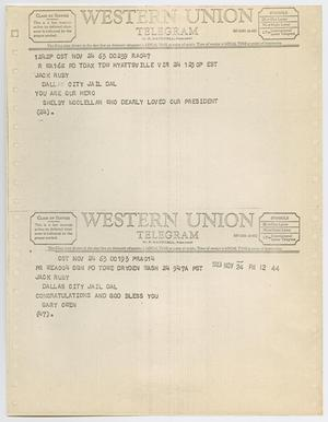 Primary view of object titled '[Telegrams to Jack Ruby from Shelby McClellan and Gary Owen, November 24, 1963 #2]'.