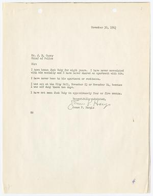 Primary view of object titled '[Report to Chief J. E. Curry by James P. Hargis, regarding his acquaintance with Jack Ruby]'.