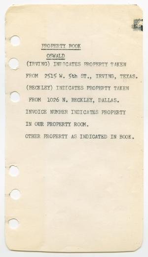 Primary view of object titled '[Inventory from a small notebook listing property belonging to Lee Harvey Oswald]'.