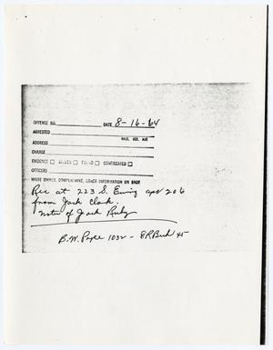 Primary view of object titled '[Note concerning notes connected to the investigation of Jack Ruby]'.