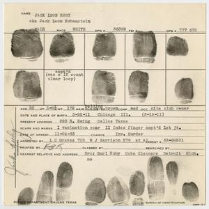 Primary view of object titled '[Fingerprints of Jack Ruby #3]'.