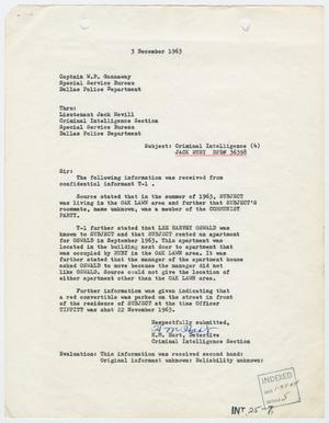 Primary view of object titled '[Report to W. P. Gannaway by H. M. Hart, December 3, 1963 #1]'.