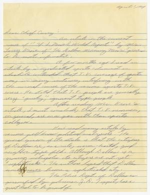Primary view of object titled '[Letters from citizens to Chief J. E. Curry regarding the assassination of John F. Kennedy and related cases]'.