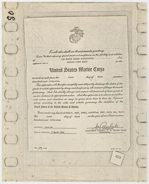 Primary view of object titled '[Certificates from U.S. Marine Corps]'.