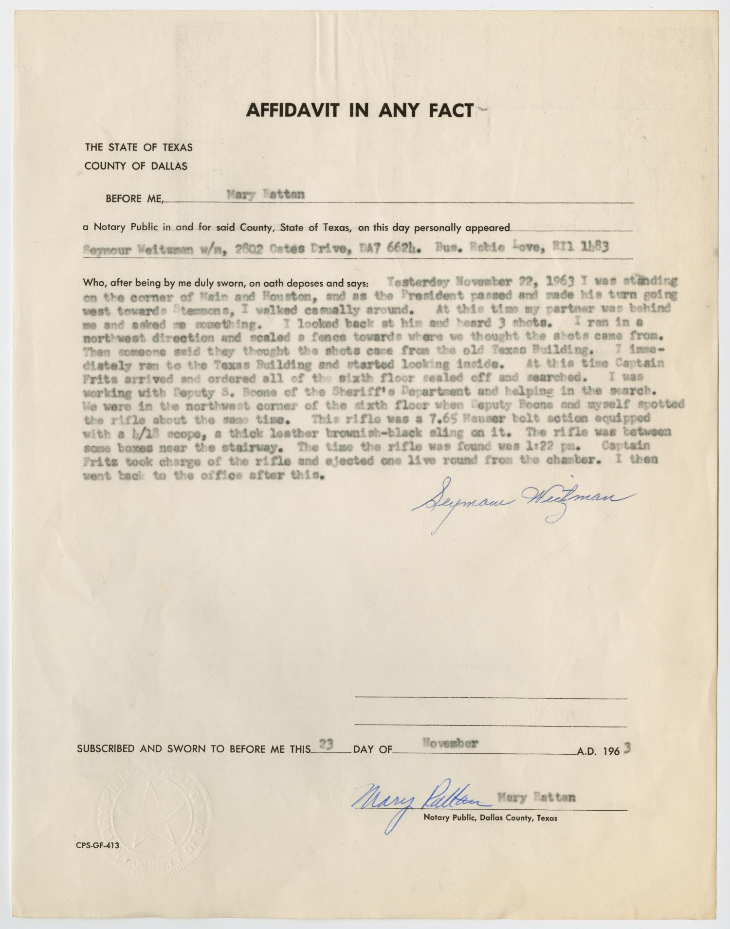 [Affidavit in Any Fact - Statement by Seymour Weitzman, November 23, 1963 #2]                                                                                                      [Sequence #]: 1 of 2