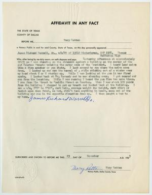 Primary view of object titled '[Affidavit in Any Fact - Statement by James Richard Worrell, November 23, 1963 #2]'.