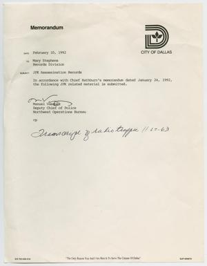 Primary view of object titled '[Memo to Mary Stephens from Manuel Vasquez, February 10, 1992]'.