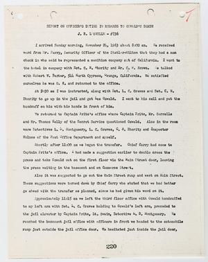Primary view of object titled '[Report on Officer's Duties by J. R. Leavelle, in regards to Lee Harvey Oswald's death #2]'.
