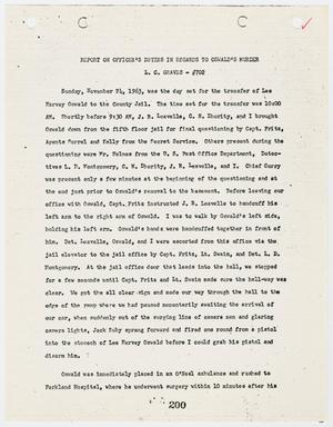 Primary view of object titled '[Report on Officer's Duties by L. C. Graves, in regards to Lee Harvey Oswald's murder #2]'.