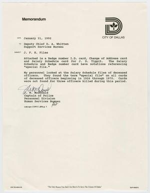 Primary view of object titled '[Memo to D. A. Whitten from J. W. McDonald, January 31, 1992]'.