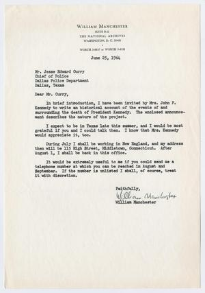[Letter from William Manchester to J. E. Curry, June 25, 1964]