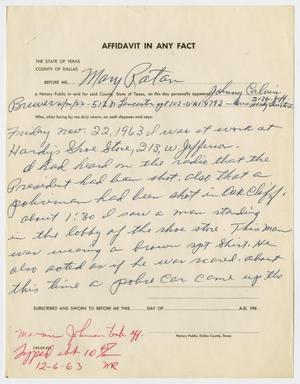 Primary view of object titled '[Affidavit by Johnny Calvin Brewer #2]'.