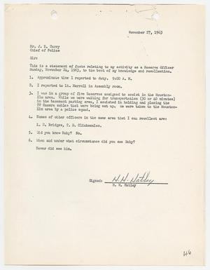 Primary view of object titled '[Report concerning the murder of Lee Harvey Oswald]'.