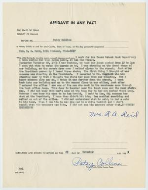 Primary view of object titled '[Affidavit in Any Fact - Statement by Mrs. R. A. Reid, November 23, 1963 #5]'.