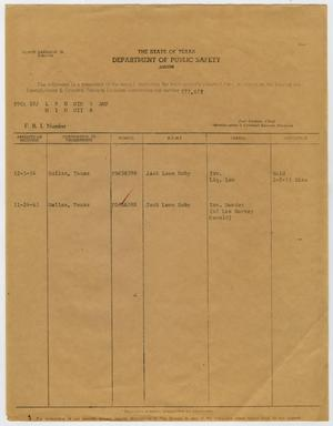 Primary view of object titled '[DPS Fingerprint Record of Jack Ruby]'.