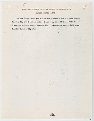 Primary view of object titled '[Report on Officer's Duties by Marvin Johnson, in regards to Lee Harvey Oswald's death #2]'.