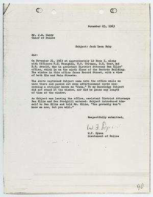 Primary view of object titled '[Report from W. F. Dyson to Chief J. E. Curry, November 25, 1963]'.