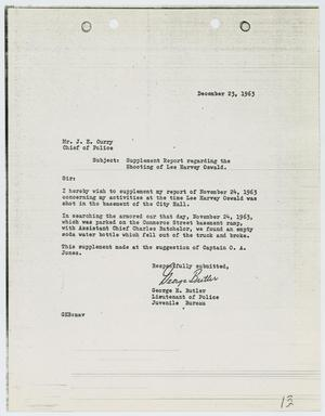 Primary view of object titled '[Report from George Butler to Chief J. E. Curry, December 23, 1963]'.