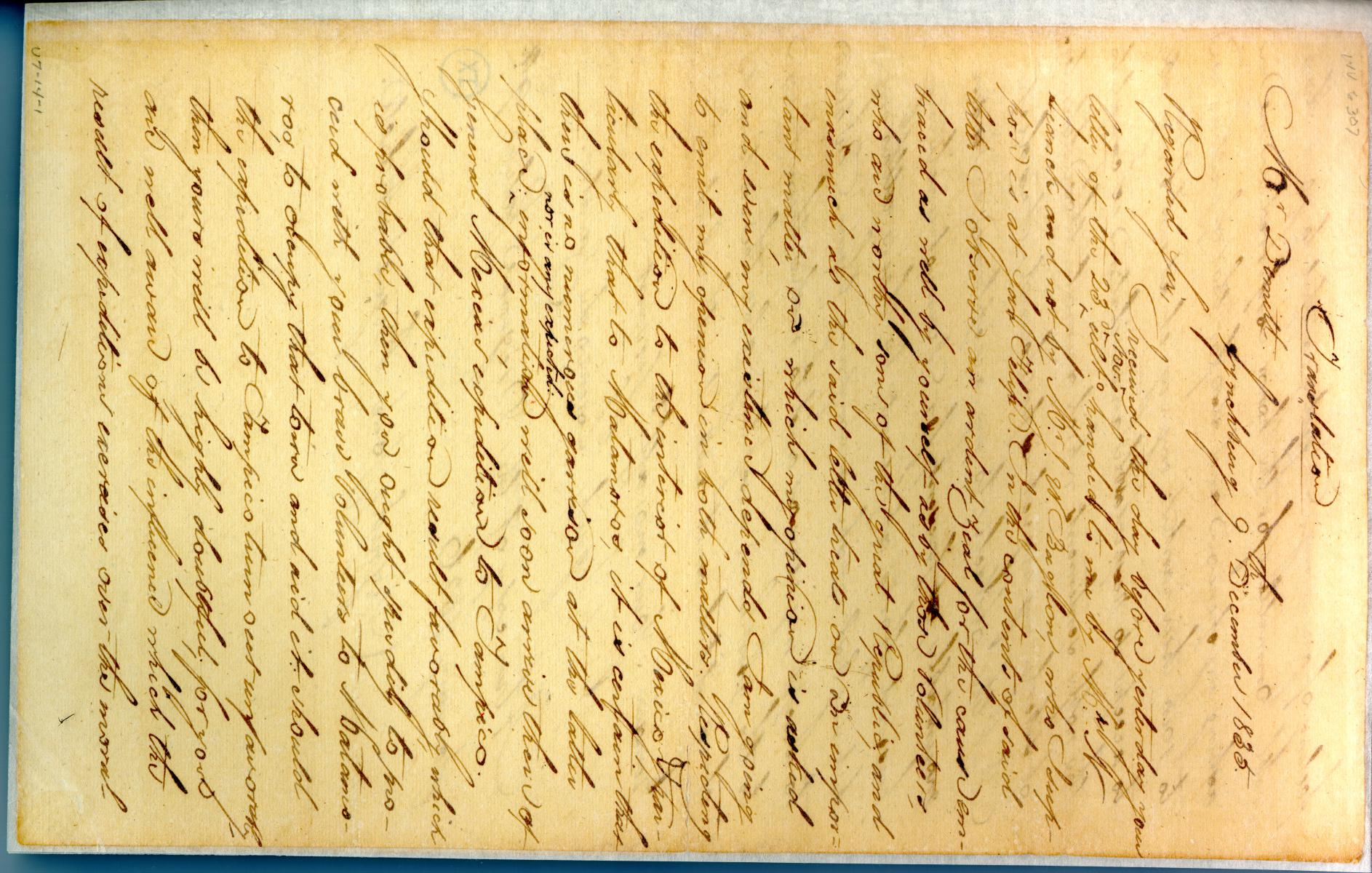 [Letter from Zavala to Dimitt] December 9th 1835                                                                                                      [Sequence #]: 1 of 2
